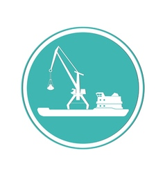 Ship and portal crane icon vector