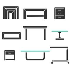 modern tables set vector image