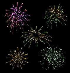 Collection five holiday fireworks vector