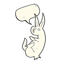 Cue cartoon rabbit with speech bubble vector