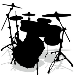 Drum silhouettes music instrument vector