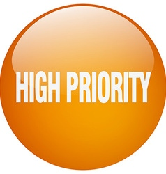 High priority orange round gel isolated push vector