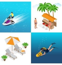 Summer concept of sandy beach idyllic travel vector