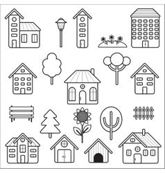 Set of home and exterior icons vector