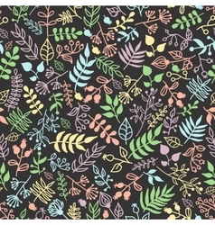 Doodle rustic floral pattern vector