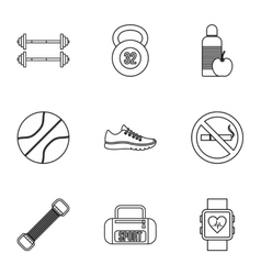 Active sport icons set outline style vector