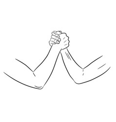 armwrestling with womens hands of monochrome vector image vector image