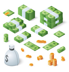 big money set dollar bills and gold coins vector image vector image