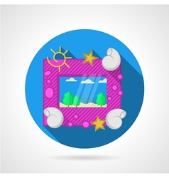 Blue flat icon for sea picture frame vector image