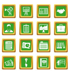 Business plan icons set green vector
