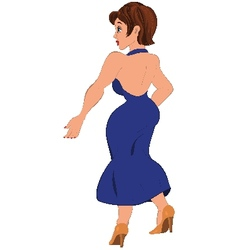 Cartoon woman in open back blue dress back view vector image vector image