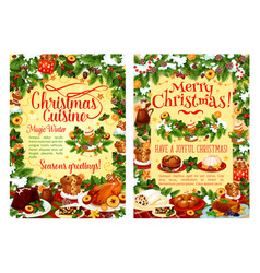 Christmas holiday food poster with dinner dish vector