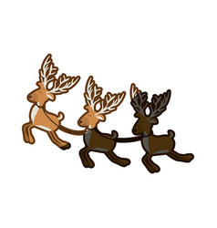 Color background with set of three funny reindeers vector