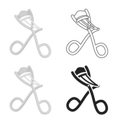 Eyelash curler icon in cartoon style isolated on vector
