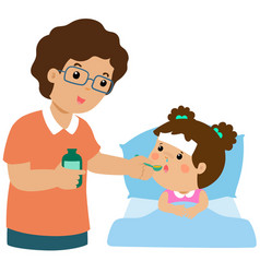 Father giving daughter medicine vector