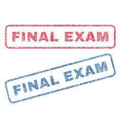 Final exam textile stamps vector