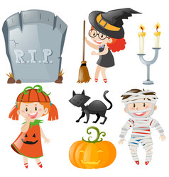 halloween theme with kids in costumes vector image