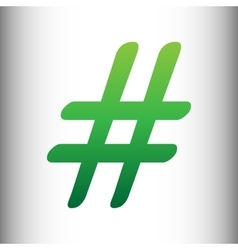 Hashtag sign Green gradient icon vector image vector image
