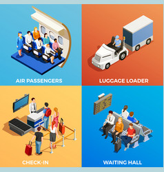 Isometric people at airport vector