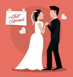 Just married couple holding hands vector
