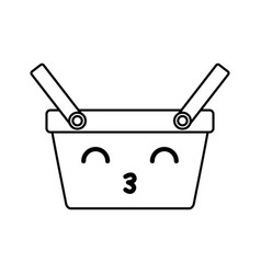 Kawaii picnic basket vector