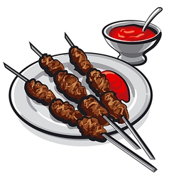 Kebab and sauce vector