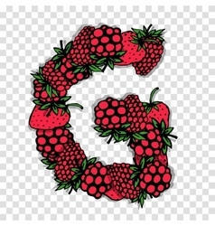 Letter G made from red berries sketch for your vector image