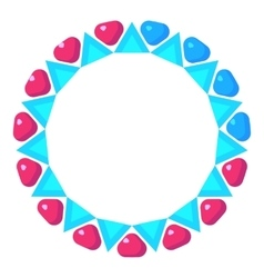 Loading circle with pink and blue hearts icon vector
