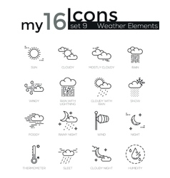 Modern thin line icons set of weather elements vector image