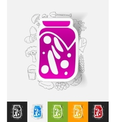 pickled vegetables paper sticker with hand drawn vector image