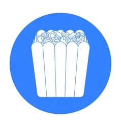 Popcorn icon in black style isolated on white vector image