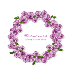 purple flowers wreath card frame vector image vector image