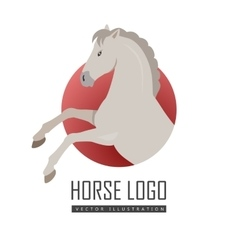 Rearing grey horse in flat design vector