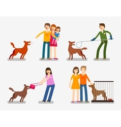 Stray dog or abandoned set of cartoon icons vector
