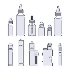 Vaping set juices and devices outline on vector