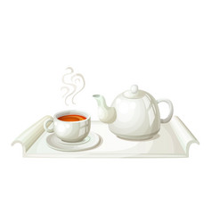 White teapot and cup of tea vector