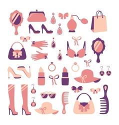 Woman accessories icon set vector