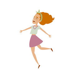 Young woman in skirt funny dances isolated vector