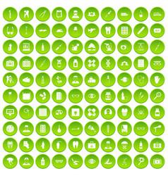 100 doctor icons set green circle vector