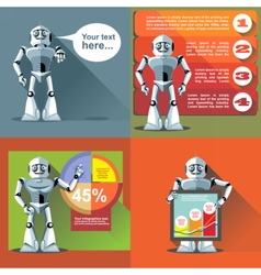 Digital silver happy robot presenting vector