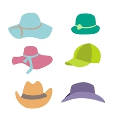 Summer fashion beach accessories hats collection vector