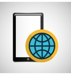 smartphone black connection globe graphic vector image