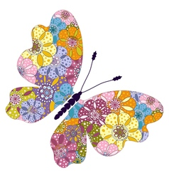 Spring bright colorful floral butterfly vector image