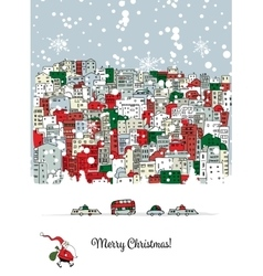 Merry christmas postcard with cityscape background vector image