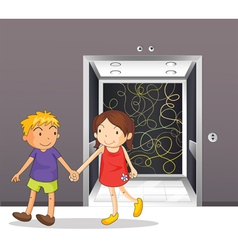 A girl and a boy holding hands near the elevator vector