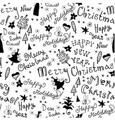 seamless handwritten pattern with christmas phrase vector image