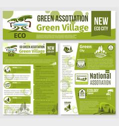 Green eco nature company templates set vector