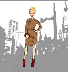 fashionable business woman in jacket and midi vector image