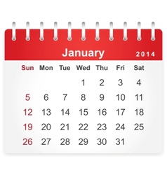 Stylish calendar page for January 2014 vector image