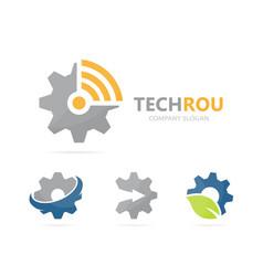 gear and wifi logo combination mechanic vector image